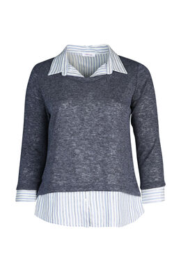 Pullover mit Hemdeinsatz in 2-in-1-Optik, Indigo