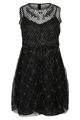 Kleid aus Mesh und Tüll, Schwarz