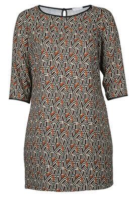 Kleid in entspannter Passform mit geometrischem Aufdruck, Kamel
