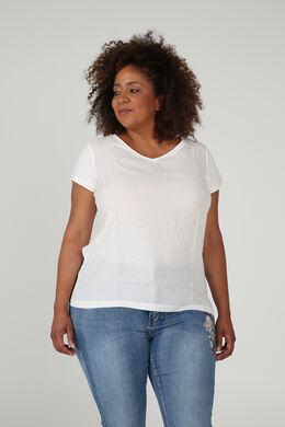T-Shirt aus zwei Materialien, naturfarben