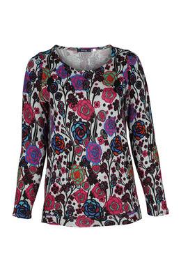 Mit Blumen bedrucktes T-Shirt, Multicolor