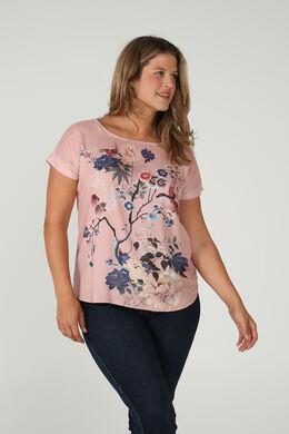 Satin-T-Shirt mit Aufdruck im japanischen Stil, Erröten