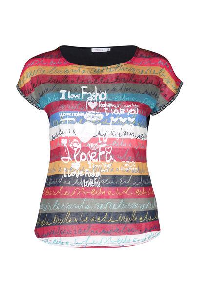 Bedrucktes T-Shirt aus Leinen - Multicolor