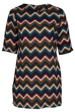 Kleid mit Zellwollabdeckung und geometrischem Aufdruck, Multicolor