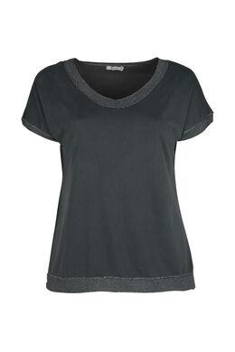 T-Shirt mit Lurex-Detail an der Ausschnittkante, anthrazit