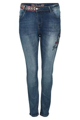 Jeans mit Papageien-Stickerei, Denim