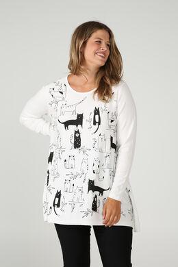 Tunika-Pullover mit Katzenaufdruck, naturfarben