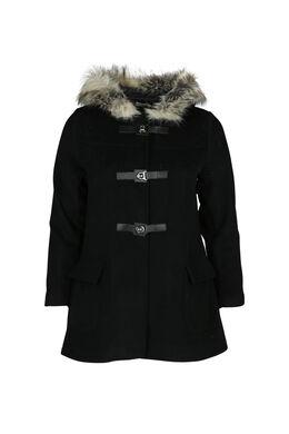 Mantel mit Pelz-Kapuze, Schwarz