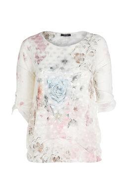 T-Shirt, bedruckt mit Blumen und Schmetterlingen, Erröten