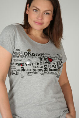 Bedrucktes T-Shirt, China Grau
