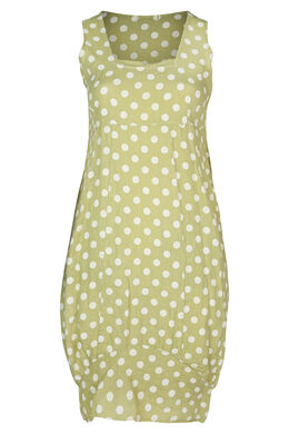 Langes Leinenkleid mit Tupfenaufdruck, Olive