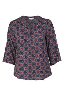 Shirt mit kreisförmigem Ethno-Muster, Bordeaux
