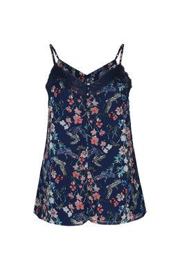 Bluse mit Blumen-Print und Spitze, Marine