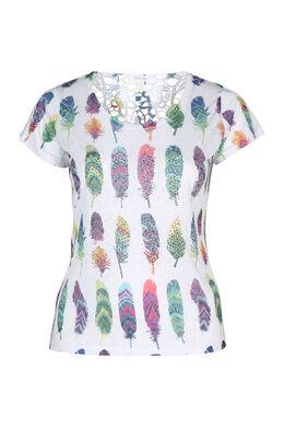 T-Shirt aus Ausbrenner-Material mit Feder-Print, Multicolor