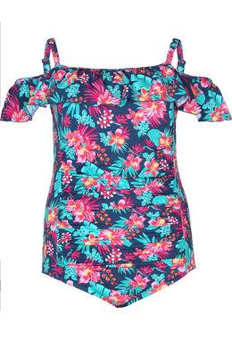 Schulterfreier Badeanzug, Multicolor
