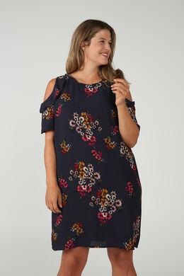 Kleid mit Blumenaufdruck und Schulterschlitzen, Multicolor