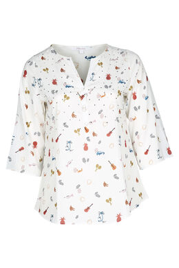 Bluse aus bedrucktem Voile, naturfarben