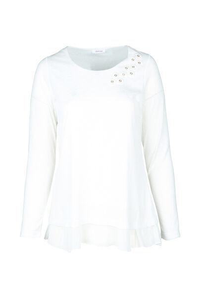 T-Shirt mit Blumen-Detail am Ausschnitt - naturfarben