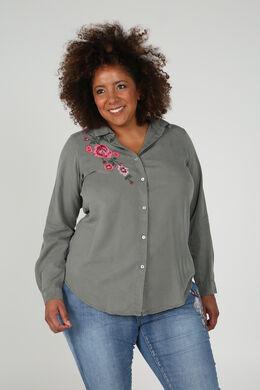 Bluse aus besticktem Tencel, Khaki