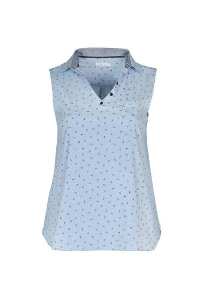 Bluse mit Hemdkragen und Phantasie-Print - weiß