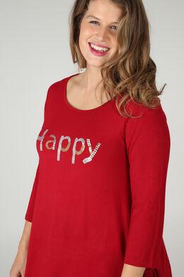 """T-Shirt mit Schriftzug """"Happy"""" aus Pailletten und Perlen, Bordeaux"""