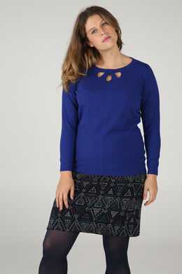 Pullover mit drei tropfenförmigen Aussparungen und Strass am Ausschnitt, Blau Bic