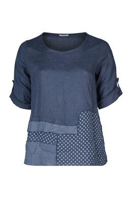 Patchwork-Bluse aus Leinen, Marine