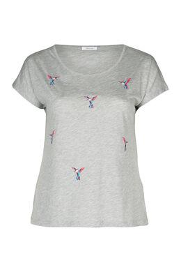 Mit Vögeln besticktes T-Shirt, China Grau