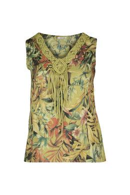 Ärmellose Bluse aus Leinen mit Blumendruck, Olive