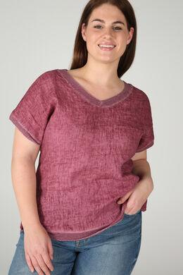 T-Shirt, vorne Leinen, hinten Jersey, Alte Rosa