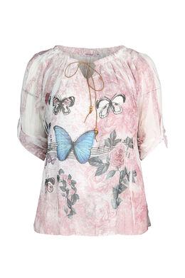 Mit Schmetterlingen bedruckte Bluse , Rosa