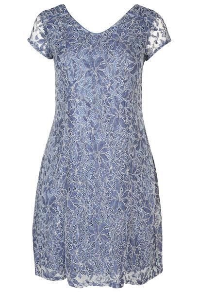 Kleid mit kurzen Ärmeln aus Spitze - Indigo