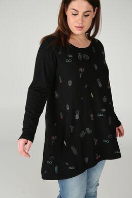 Tunika-Pullover mit Aufdruck, Schwarz