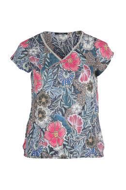 Bluse mit Blumenaufdruck, Indigo