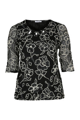 Bedrucktes T-Shirt aus Spitze, Schwarz
