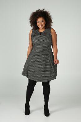 Kleid aus Jacquard-Gewebe mit kleinen Motiven, Schwarz