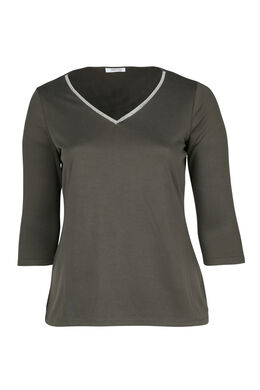 T-Shirt mit Schmuckkragen, Khaki