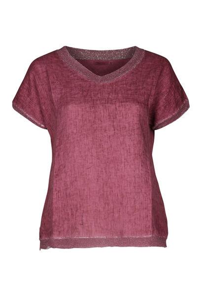 T-Shirt, vorne Leinen, hinten Jersey - Alte Rosa