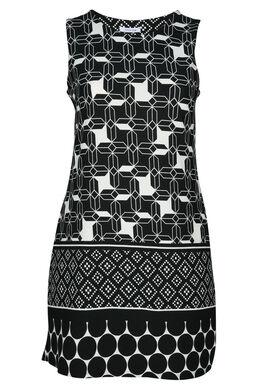 Kleid mit grafischem Aufdruck, Schwarz / Creme