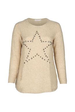 Pullover mit Stern aus Nieten, Beige