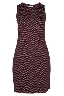 Ärmelloses Kleid aus Jacquard-Strick, Rot