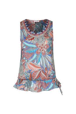 Ärmellose Bluse mit Ethno-Print, Koralle