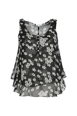Bluse aus mit Gänseblümchen bedrucktem Schleierstoff, Schwarz