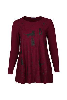 Tunika-Pullover mit Katzenaufdruck, Bordeaux