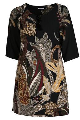 Kleid mit Zellwollabdeckung, Schwarz