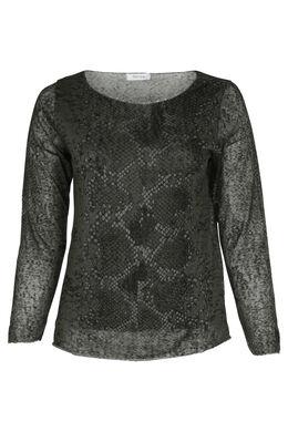 T-Shirt mit Schlangenleder-Print, Khaki