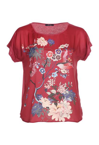 Satin-T-Shirt mit Aufdruck im japanischen Stil - Bordeaux