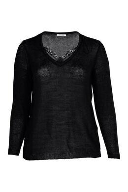 Pullover mit V-Ausschnitt und Spitze, Schwarz