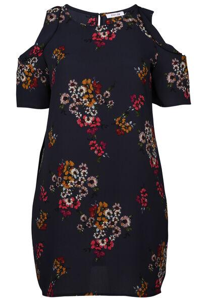 Kleid mit Blumenaufdruck und Schulterschlitzen - Multicolor