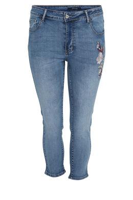 3/4-Jeans Sara, bestickt, Denim